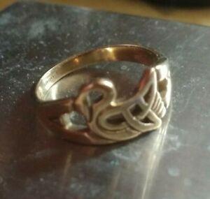 9ct Gold Swan Ring 2.4g