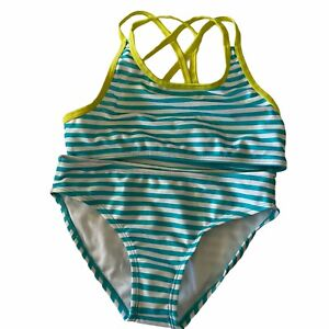 Gymboree Girls Two Piece Medium Bikini Rash Guard Turquoise Yellow Bathing Suit