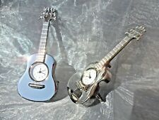 *GUITAR CLOCK*  height 9.5cms CHROMED STEEL QUARTZ MOVEMENT