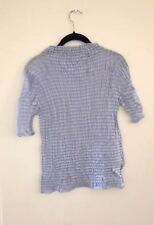ISSEY MIYAKE White Label Light Blue Mock High Neck Crinkle Top M Japan Totokaelo