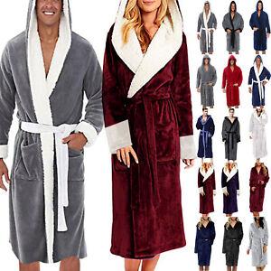 Mens Womens Warmer Bath Robe Fleece Fluffy Hooded Cloak Bathrobe Dressing Gown