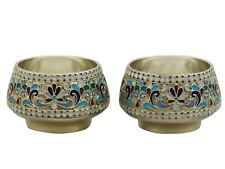 1920's Russian Silver and Polychrome Cloisonné Enamel Salts