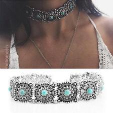 Retro Boho Women Necklaces Round Turquoise Charm Jewelry