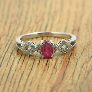 Natural Oval Cut Ruby Diamond 925 Sterling Silver Eternity Ring Size US 4-8