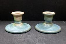 """Roseville Earlam Round Green and Tan Candle Holders - 1059-3"""""""