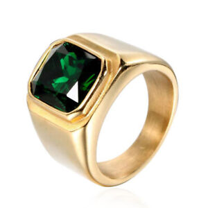 Men's Emerald Ring Stainless Steel Wedding Band Ring Gold Plated with Green CZ