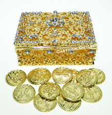 WEDDING CEREMONY GOLD ARRAS DE BODA 13 UNITY COINS RHINESTONES Square BOX 820