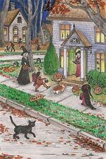 LE 4x6 HALLOWEEN POSTCARD 14/50 RYTA RARE SALEM INN CAT WITCH HAUNTED HOUSE ART