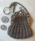 Antique French Bru Doll Brown Crochet G Silver Steel Micro Bead Coin Purse 1890s