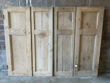 More details for pair of 19th century stripped pine panelled wooden shutters with iron fittings
