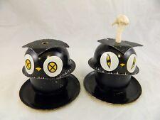 Black Owl Oil Lantern Lamp Light Tiki Torch Tin Litho Halloween Fall Decor Vtg