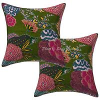 Ethnic Printed Kantha Cotton Pillow Cases Dark Olive Green Tropicana Cushion