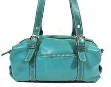 Tignanello Vintage Classic Green Leather Satchel Handbag Purse Medium 1008