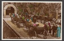 Postcard Sark nr Guernsey Channel Islands hand coloured Old Transport on Quay RP
