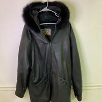 IZZI Womens Leather Jacket Coat Black Zip Up Hooded Faux Fur Collar Pockets M