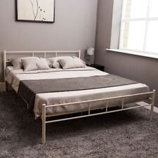 Dorset King Size Bed Metal Steel Frame 5FT Bedroom Furniture Modern White New