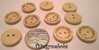 10 x 15/20/25mm HANDMADE WITH LOVE ROUND 2 HOLE WOODEN BUTTONS - **UK SELLER**
