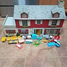 "Huge 33"" Marx Tin Litho Mansion Dollhouse Marxie Mansion VHTF with Furniture lot"