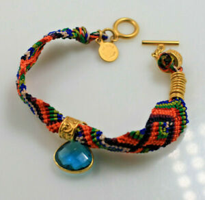"""Catherine Page woven thread colorful gold tone blue stone toggle bracelet 7 1/2"""""""