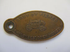 vintage 1955 Body by Fisher Automobile Car Co Drop Box Return Oval Key Fob Chain