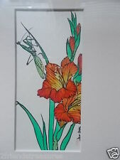 Asian Oriental Watercolor Painting Red Stamp Signed Flower & Praying Mantis