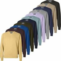 Mens Ex-Store V Neck Jumper Long Sleeve Plain Knitted Sweater Pullover Top New