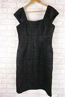 VERONIKA MAINE Pencil Dress Sz 12 Black Textured Work, Office, Event Wool Mix