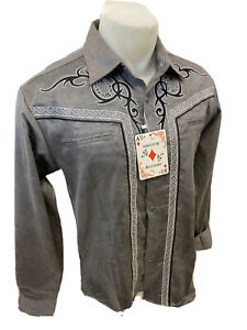 Men RODEO WESTERN COUNTRY GRAY BLACK STITCH TRIBAL SNAP UP Shirt Cowboy 04485