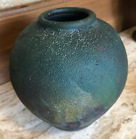 Unique RAKU Pottery Vessel Vase