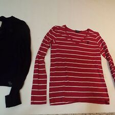 Lot 2 Women ladies navy blue cardigan L Abercrombie & Fitch pink polo shirt S