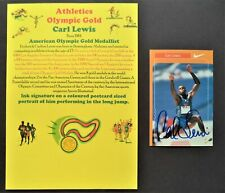 LEWIS CARL AMERICAN x4 OLYMPIC GOLD MEDALS 1984 SIGNED PROMOPHOTO