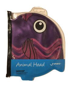 FINIS Fish Head Animal Swim Cap for Kids Purple Violet Soft Silicone Swimming