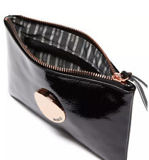 MIMCO Medium Black Pouch Waver Leather Patent  ROSE GOLD Wallet Clutch Bag BNWT