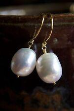 Kasumi White Baroque Pearl Dangle EARRINGS 24K Gold Vermeil