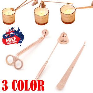 3Pcs Candle Snuffer Wick Dipper Oil Lamp Trimmer Scissor Cutter Hook Set Tools A