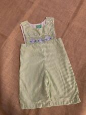 "Jelly Beans toddler boys smocked ""owl"" stripe overalls size 3T"