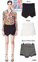 Women's Wrap Mini Skort Skirt Short Culottes Irregular Laminated Flanging PP004