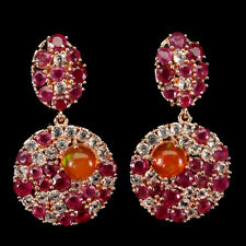 Round Orange Fire Opal 5mm Ruby White Topaz 925 Sterling Silver Earrings