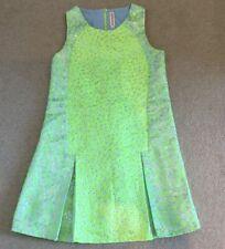 GIRLS ANNE KURRIS GREEN AND SILVER LEOPARD PRINT DRESS AGE 12