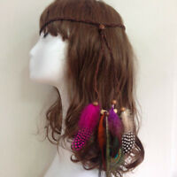 Summer Rope Knitted Hairband Bohemian Hippie Headband Peacock Feather Hair Band