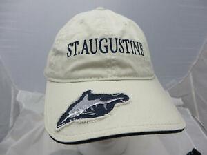 St Augustine Florida Baseball Cap Hat adjustable v shark logo tan biege