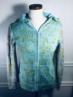 J Jill Women's Green Blue Paisley Print Knit Hooded Zip Front Cardigan Size XS P