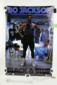 "BLACK & BLUE Bo Jackson Original Costacos Poster 1989 24"" x 35 3/4"" NFL/MLB"