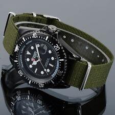 SHARK ARMY Mens Date Green Quartz Wrist Nylon Black Military Fashion Sport Watch
