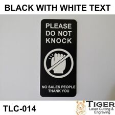 PLEASE DO NOT KNOCK SIGN - NO SALES PEOPLE THANKYOU 4.5CM X 10CM - BLACK/WHITE