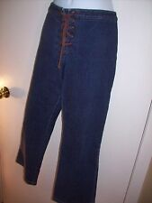 Womens jeans Suede brown lace up fly Rodeo western Ann Taylor LOFT 12P 12 petit