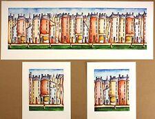 """Elaine Cooper """"Café Trio"""" Cityscape TRITTICO FIRMATA! dimensioni: 33cm x 144cm NUOVO RARO"""