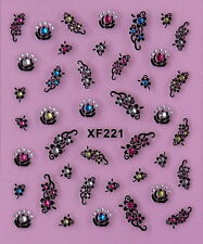 Nail Art 3D Decal Stickers Pretty Flowers with Rhinestones XF221