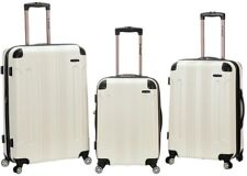 ROCKLAND Luggage Hard-Side Spinner Set, Expandable and Durable, White (3-Piece)
