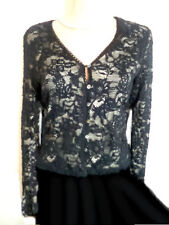 Vintage Black Lace Cardigan Soft  Lining Mother of Pearl Button River Island 10